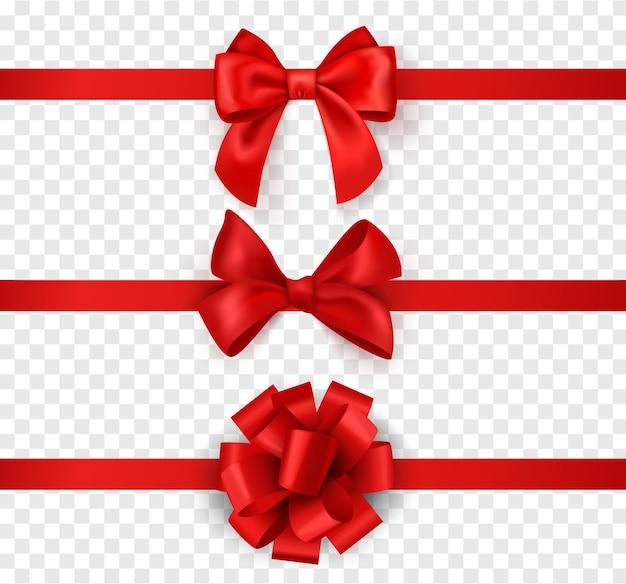 Cadeau strikken met linten. horizontale zijde rood lint met decoratieve strik, realistische luxe feestelijke satijnen tape voor decor of vakantie verpakking 3d-vector set geïsoleerd op transparante achtergrond