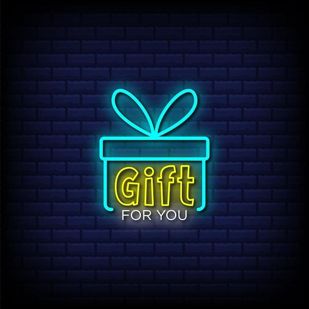 Cadeau voor jou tekst in neonreclamestijl