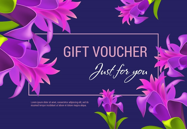 Cadeaubon alleen voor jou belettering in frame met paarse bloemen.