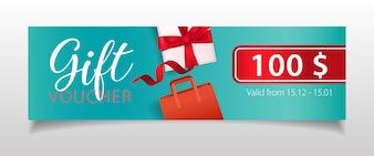 Cadeaubon belettering met geschenkdoos en boodschappentas
