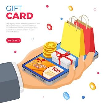 Cadeaubon- en klantenloyaliteitsprogramma's als onderdeel van retourmarketing. geschenkdoos, retouren, rente, punten, bonussen. hand met smartphone geeft cadeaus voor bonussen van loyaliteitsprogramma. isometrische vector