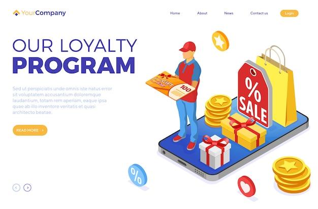 Cadeaubon- en klantenloyaliteitsprogramma's als onderdeel van retourmarketing. opbrengsten, rente, punten, bonussen. online ondersteuning op smartphone geeft cadeaubon van isometrische bestemmingspagina van loyaliteitsprogramma