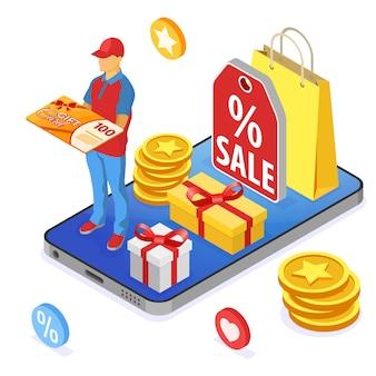Cadeaubon- en klantenloyaliteitsprogramma's als onderdeel van retourmarketing. opbrengsten, rente, punten, bonussen. online ondersteuning op smartphone geeft cadeaubon van loyaliteitsprogramma. isometrisch