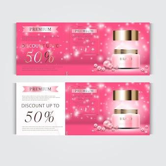 Cadeaubon hydraterende gezichtscrème voor jaarlijkse verkoop of festivalverkoop roze en gouden crèmemasker