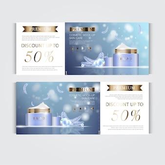 Cadeaubon hydraterende gezichtscrème voor jaarlijkse verkoop of festivalverkoop zilveren en gouden crèmemasker.