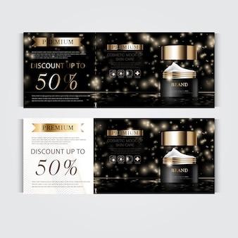 Cadeaubon hydraterende gezichtscrème voor jaarlijkse verkoop of festivalverkoop zwart en goud crèmemasker