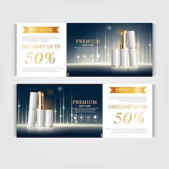 Cadeaubon hydraterende gezichtslippenstift voor jaarlijkse verkoop of festivaluitverkoop zilveren en gouden lippenstift
