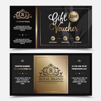 Cadeaubon koninklijke merk sjabloon met sierlijke bloeit kronen