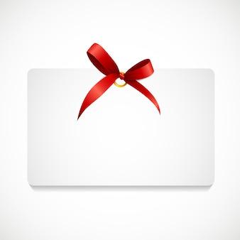 Cadeaubon met rood lint en boog. illustratie