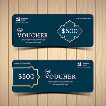 Cadeaubon of coupon sjabloonlay-out met verschillende kortingsaanbieding