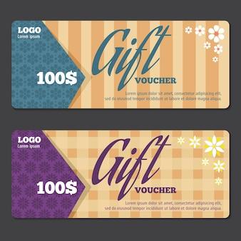 Cadeaubon ontwerpsjabloon. waardebon, cadeaubon, speciale geschenkprijs. vector illustratie