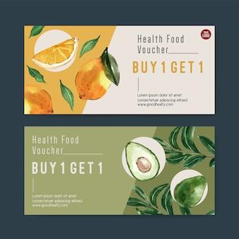 Cadeaubon plantaardige aquarel verfcollectie. vers voedsel organische gezonde illustratie