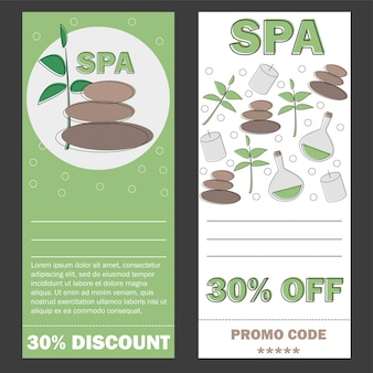Cadeaubon sjabloon voor spa, hotel resort, vector illustratie banner - discounr card