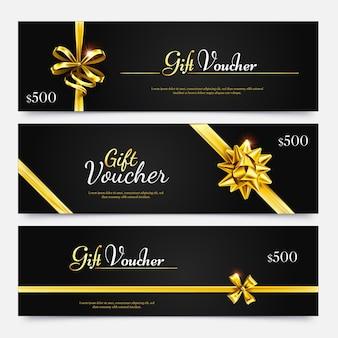 Cadeaubonverzameling, verrassingsaanbieding voor vakantie, gouden certificaatbeloning, flyersjabloon speciale geldcoupon. vector illustratie