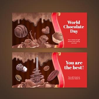 Cadeaukaartsjabloon met wereldchocoladedagconcept