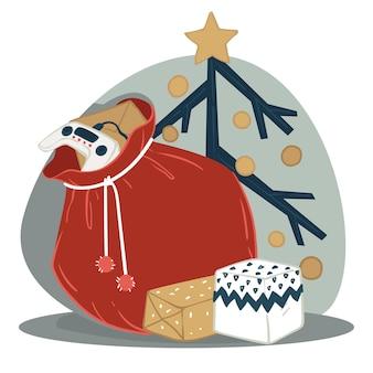 Cadeaus voor kinderen op nieuwjaar en kerstmis. wintervakanties vieren, cadeaus geven. tas met joystick en gamepad voor kinderen. dozen in inpakpapier, decoratieve boom met kerstballen. vector in plat