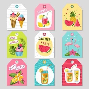 Cadeautags met tropische zomerdecoratie. illustraties van watermeloen, limonade