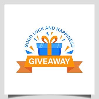 Cadeauwinkellogo, weggeefactie voor kerstmis, pakketdoos voor logosjabloon voor verjaardagscadeau