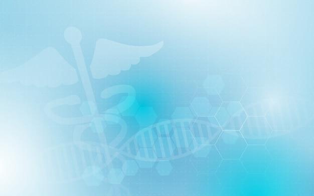 Caduceus medisch symbool en abstract geometrisch met geneeskunde en wetenschapsconceptenachtergrond