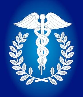 Caduceus teken over blauwe achtergrond vectorillustratie