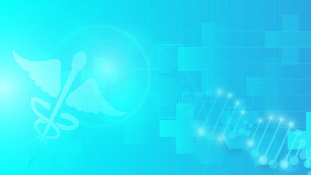 Caduceussymbool en samenvatting geometrisch op blauwe achtergrond