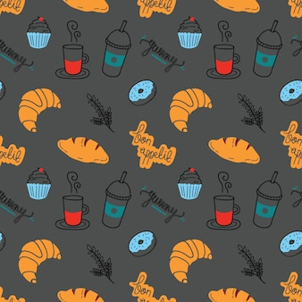 Café achtergrond doodle met brood, cupcake en een koffiekopje