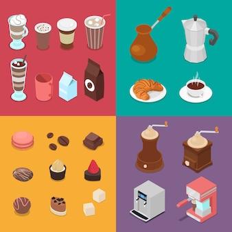 Cafe-elementen instellen met snoep en verschillende warme dranken