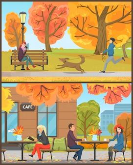Cafe exterieur klanten drinken dranken