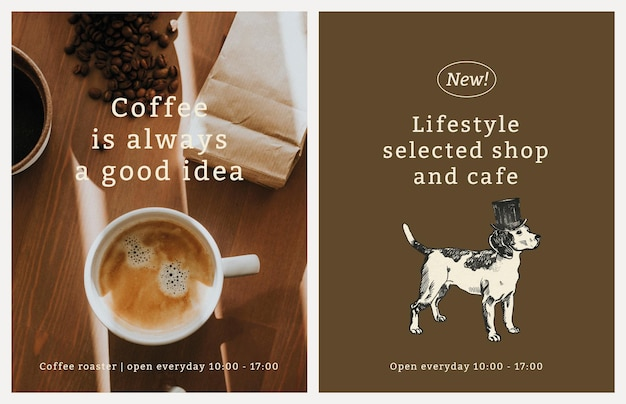Café-flyersjabloon in vintage hondenthemaset