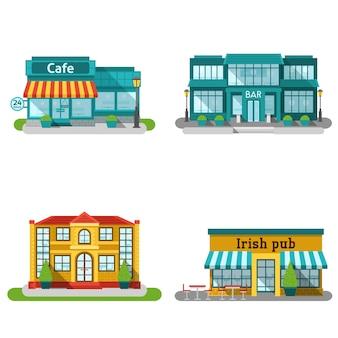 Cafe gebouwen vlakke set