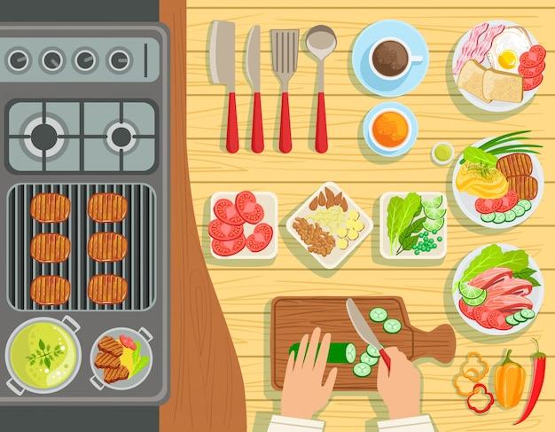 Cafe grill kookproces elementen instellen weergave van bovenaf