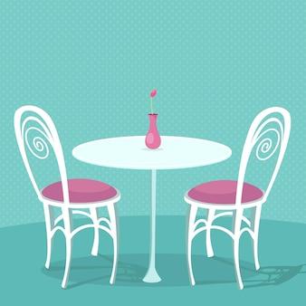 Cafe interieur vectorillustratie twee witte stoelen met roze kussens en ronde tafel met vase