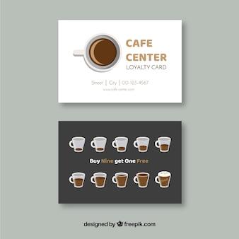 Cafe loyaliteit kaartsjabloon met elegante stijl