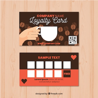 Cafe loyaliteit kaartsjabloon met moderne stijl