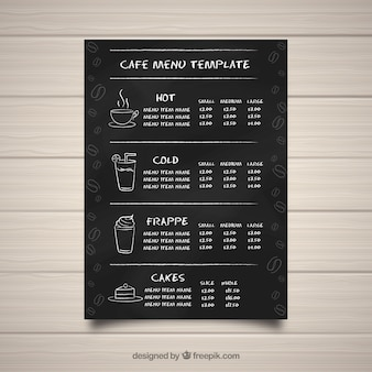 Cafe menusjabloon in blackboard-stijl