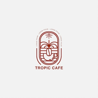 Café met beker en tropisch land-logo