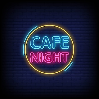 Cafe night neon signs style text