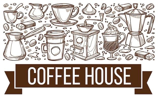 Café of coffeeshophuis, zwart-wit schetsoverzicht met banner