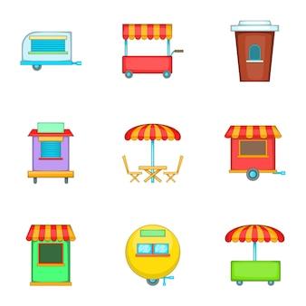 Cafe op wielen iconen set, cartoon stijl
