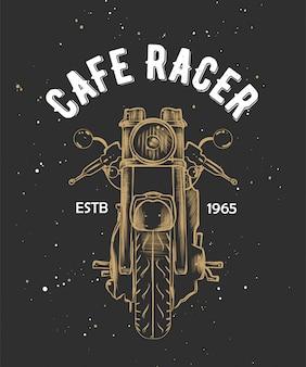 Cafe racer met schets van motorcirkel.