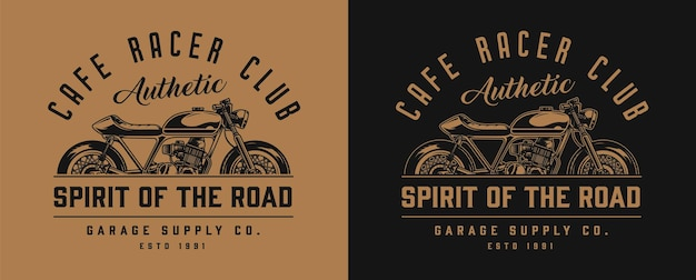 Cafe racer motorfiets monochroom label in vintage stijl op donker en licht
