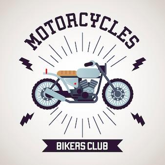 Café racer motorfiets stijl met belettering illustratie