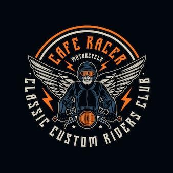 Cafe racer motorfiets vintage badge embleem