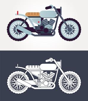 Café racer motorfietsen stijl voertuigen pictogrammen illustratie