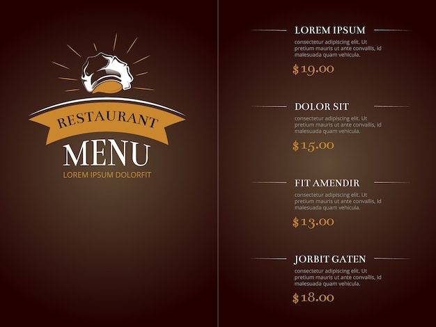 Cafe restaurant menu sjabloon identiteit vector mockup