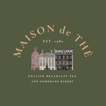 Cafe vintage logo sjabloon set, geremixt van kunstwerken in het publieke domein