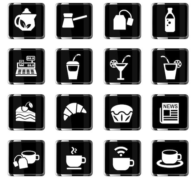 Café-webpictogrammen voor ontwerp van gebruikersinterface