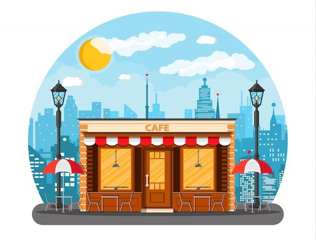 Café winkel buitenkant. stadsgezicht