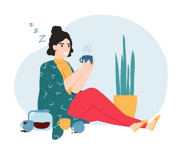 Cafeïneverslaving. slaperige en vermoeide vrouw met cafeïneverslaving