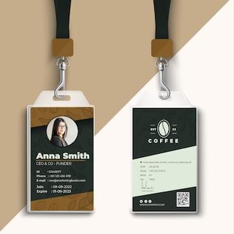 Cafetaria coffeeshop id-kaartsjabloon